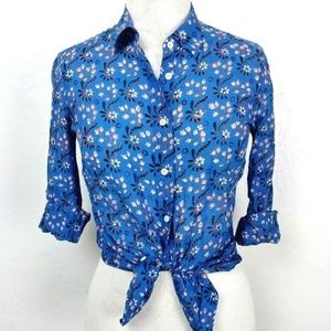 J.Crew Perfect Shirt in Blue Vintage Scarf Print